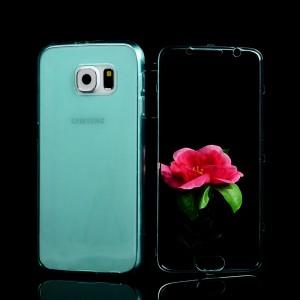 Двухмодульный силиконовый чехол горизонтальная книжка с транспарентной акриловой крышкой для Samsung Galaxy S6 Голубой