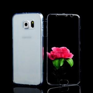 Двухмодульный силиконовый чехол горизонтальная книжка с транспарентной акриловой крышкой для Samsung Galaxy S6 Синий