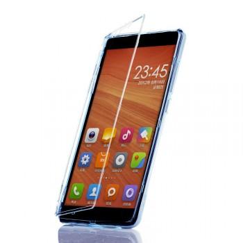 Двухмодульный силиконовый чехол горизонтальная книжка с транспарентной акриловой смарт крышкой для Xiaomi RedMi Note