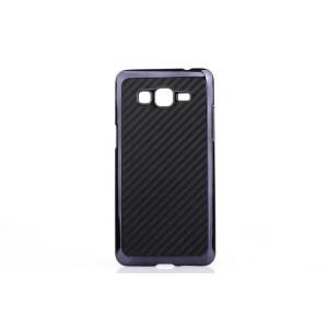 Пластиковый матовый чехол текстура Карбон для Samsung Galaxy Grand Prime