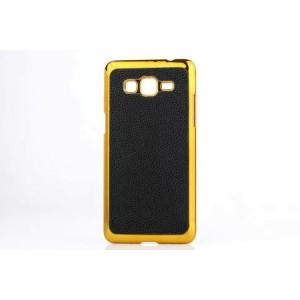 Пластиковый матовый чехол с кожаной поверхностью для Samsung Galaxy Grand Prime Черный