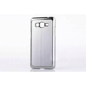 Пластиковый чехол с текстурой Металл для Samsung Galaxy Grand Prime Белый