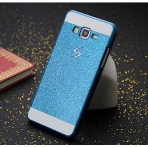 Пластиковый матовый чехол с принтом Золото для Samsung Galaxy Grand Prime Голубой