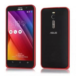 Металлический одноцветный бампер для Asus Zenfone 2 Красный