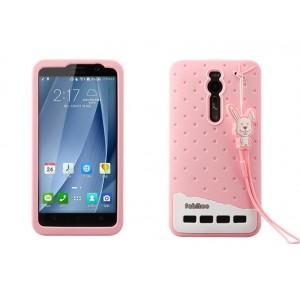 Силиконовый дизайнерский фигурный чехол с шнурком для Asus Zenfone 2 Розовый