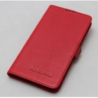 Кожаный чехол горизонтальная книжка (нат. кожа) для Lenovo S850 Красный