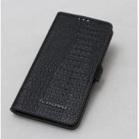 Кожаный чехол портмоне (нат. кожа крокодила) для Lenovo S850 Черный