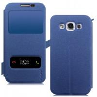 Чехол флип с окном вызова и свайпом на присоске для Samsung Galaxy E5 Синий
