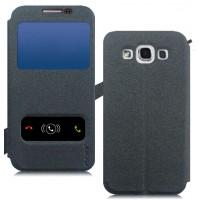 Чехол флип с окном вызова и свайпом на присоске для Samsung Galaxy E5 Черный