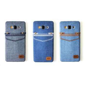 Силиконовый дизайнерский чехол с тканевым покрытием Джинса для Samsung Galaxy A5