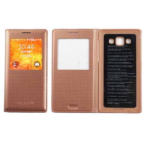 Кожаный чехол смартфлип с фирменной точечной структурой и окном вызова для Samsung Galaxy A5