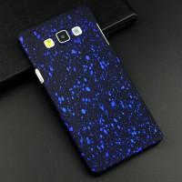 Пластиковый матовый дизайнерский чехол с голографическим принтом Звезды для Samsung Galaxy A7 Синий