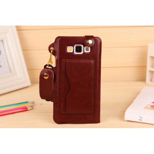 Дизайнерский чехол портмоне подставка с шнурком и отделением для карт для Samsung Galaxy A7