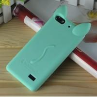 Силиконовый дизайнерский фигурный чехол Кошка для Huawei Honor 4C Зеленый