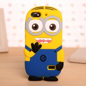 Силиконовый дизайнерский фигурный чехол миньон для Huawei Honor 4C Голубой