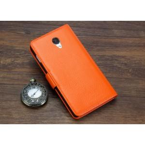 Кожаный чехол портмоне для Lenovo S860 Оранжевый
