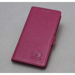 Кожаный чехол горизонтальная книжка подставка (нат. кожа) для Huawei Honor 4C Пурпурный