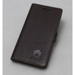 Кожаный чехол горизонтальная книжка подставка (нат. кожа) для Huawei Honor 4C Коричневый
