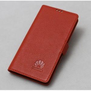 Кожаный чехол горизонтальная книжка подставка (нат. кожа) для Huawei Honor 4C Оранжевый