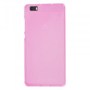 Силиконовый матовый полупрозрачный чехол для Huawei P8 Lite Розовый
