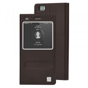 Кожаный чехол флип подставка с окном вызова и свайпом для Huawei P8 Lite