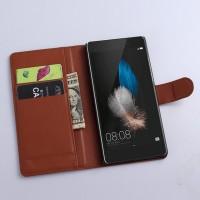 Чехол портмоне подставка с защелкой для Huawei P8 Lite Коричневый
