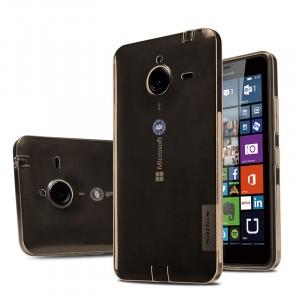 Силиконовый матовый полупрозрачный чехол для Microsoft Lumia 640 XL Коричневый