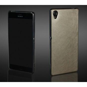 Гибридный силиконовый чехол с кожаным покрытием для Sony Xperia Z3+