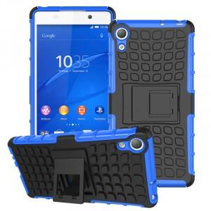 Силиконовый чехол экстрим защита со встроенной ножкой-подставкой для Sony Xperia Z3+ Синий
