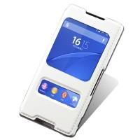Текстурный чехол флип подставка на пластиковой основе с окном вызова и свайпом для Sony Xperia Z3+ Белый