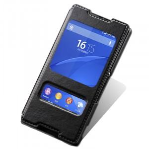 Текстурный чехол флип подставка на пластиковой основе с окном вызова и свайпом для Sony Xperia Z3+ Черный