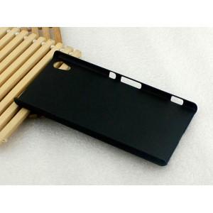 Пластиковый матовый Металлик чехол для Sony Xperia Z3+ Черный