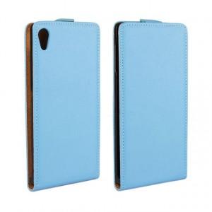 Чехол вертикальная книжка на платсиковой основе для Sony Xperia Z3+ Голубой