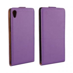 Чехол вертикальная книжка на платсиковой основе для Sony Xperia Z3+ Фиолетовый
