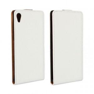 Чехол вертикальная книжка на платсиковой основе для Sony Xperia Z3+ Белый