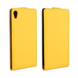 Чехол вертикальная книжка на платсиковой основе для Sony Xperia Z3+ Желтый