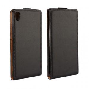 Чехол вертикальная книжка на платсиковой основе для Sony Xperia Z3+ Черный