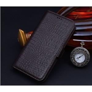 Кожаный чехол горизонтальная книжка (нат. кожа крокодила) на пластиковой основе для Sony Xperia Z3+ Черный