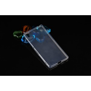 Силиконовый глянцевый транспарентный чехол для Sony Xperia Z3+