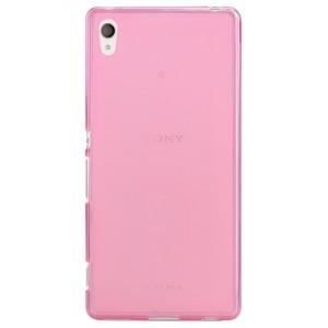 Силиконовый матовый полупрозрачный чехол для Sony Xperia Z3+ Розовый