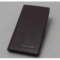 Кожаный чехол горизонтальная книжка (нат. кожа) с магнитной застежкой для Lenovo Vibe Z2 Коричневый