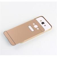 Двухкомпонентный чехол с металлическим бампером и поликарбонатной накладкой для Samsung Galaxy E5 Бежевый