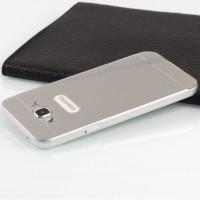 Двухкомпонентный чехол с металлическим бампером и поликарбонатной накладкой для Samsung Galaxy E5 Серый