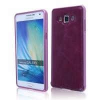Двухкомпонентный чехол с металлическим бампером и кожаной крышкой для Samsung Galaxy E5 Фиолетовый