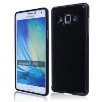 Двухкомпонентный чехол с металлическим бампером и кожаной крышкой для Samsung Galaxy E5 Черный