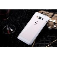 Текстурный пластиковый чехол с напылением страз для Samsung Galaxy E5 Белый