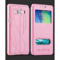 Кожаный чехол флип подставка на пластиковой основе с окном вызова и свайпом для Samsung Galaxy E5 Розовый