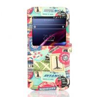 Дизайнерский чехол смарт флип подставка с окном вызова и принтом для Samsung Galaxy E5