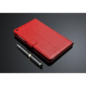 Кожаный чехол подставка с внутренними отсеками для карт для Huawei MediaPad T1 8.0 Красный