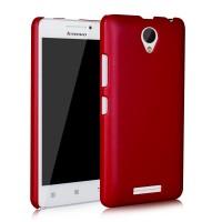 Пластиковый матовый металлик чехол для Lenovo A5000 Красный